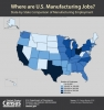 U.S. Map Showing State-by-State Comparison of Manufacturing Employment