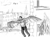 Illustration of a patent for a winged suit to fly away from a burning building.