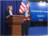 U.S. Chief Technology Officer, Megan Smith, introduces Census Bureau Director John Thompson at Announcement of the Opportunity Project at the White House