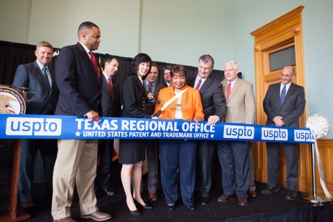 Ribbon cutting at the official opening of the United States Patent and Trademark Office, Texas Regional Office