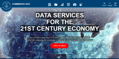 Screenshot of the Commerce Data Service website