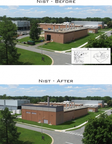 Before and After Photo of the NIST Combined Heat and Power (CHP) Plant