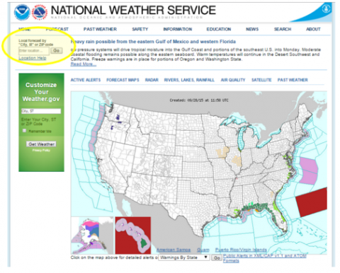 Visit weather.gov and type your ZIP code or city, state into the box highlighted below by the yellow circle.