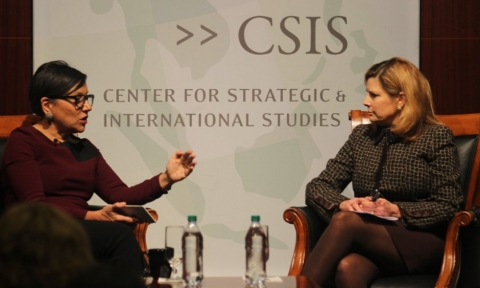 U.S. Secretary of Commerce Penny Pritzker talks with Nina Easton about globalization, trade and cybersecurity at the CSIS Smart Women, Smart Power series.
