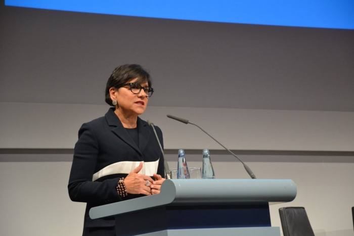 Secretary Pritzker speaks at the Digital Transformation of Industry Conference during Hannover Messe