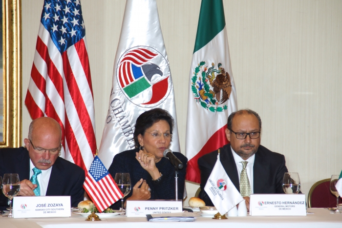 Secretary Penny Pritzker speaking with the American Chamber of Commerce of Mexico