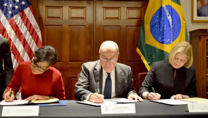 Secretary Pritzker, Brazil's Minister of Foreign Affairs Mauro Vieira, and USTDA Lee Zak sign a Memorandum to Cooperate on infrastructure development