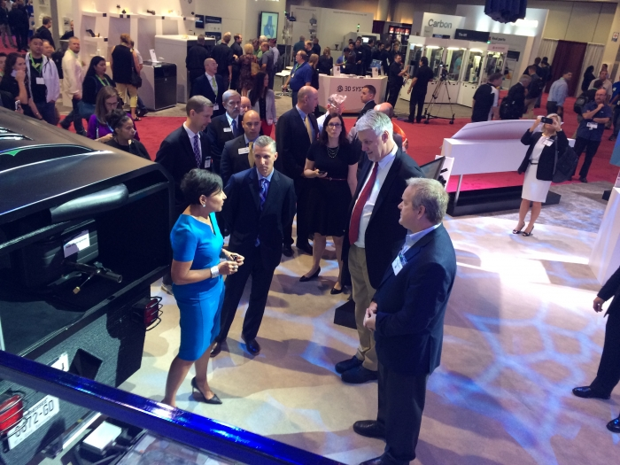U.S. Secretary of Commerce Penny Pritzker on the showroom floor at the International Technology Show (IMTS) in Chicago.