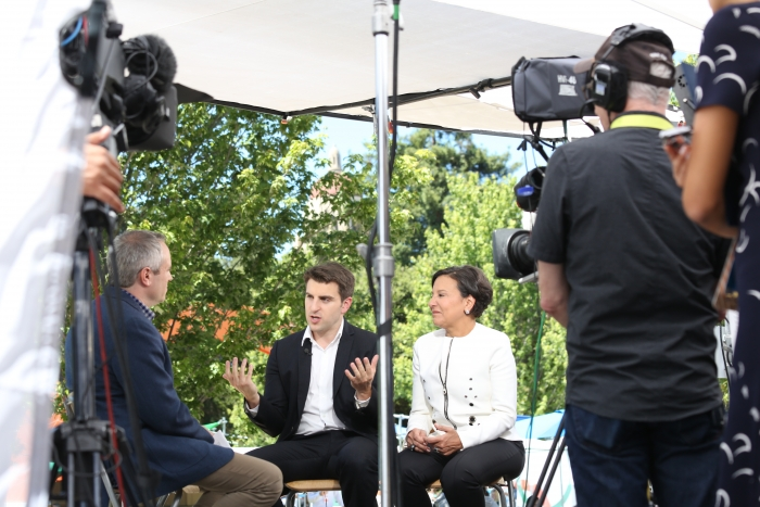 Secretary Pritzker and PAGE member Brian Chesky Speak with Bloomberg at Global Entrepreneurship Summit 2016