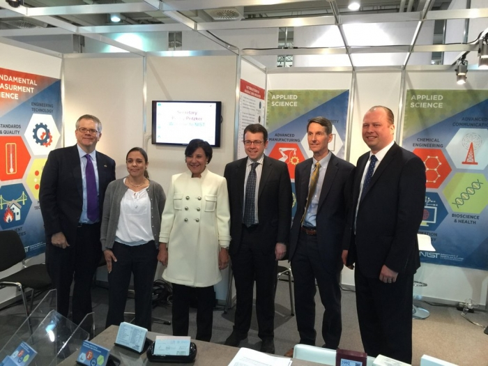 Secretary Pritzker and Deputy Secretary Andrews visit NIST's booth at Hannover Messe