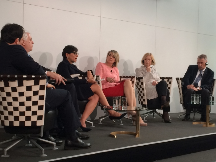 Secretary Priztker participates in a Workforce Development panel at Hannover Messe