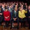 Secretary Pritzker, President Obama, and Chancellor Merkel watching the Hannover Messe Opening Ceremony