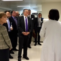 U.S. Deputy Secretary of Commerce Bruce Andrews (right) and Acting Deputy of Health and Health and Human Services Mary Wakefield (left) tour the Peking Union Medical College Hospital.
