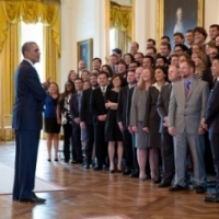 President Barack Obama talks with the Presidential Early Career Award for Scientists and Engineers (PECASE) recipients in the East Room of the White House, April 14, 2014.  (Official White House Photo by Pete Souza)