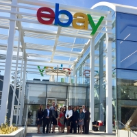 eBay's Tekedra Mawakana, Vice President for Global Government Relations and Public Policy, and Caitlin Brosseau, Senior Manager for Government Relations, host the Department of Commerce's Digital Attaches for a tour of eBay's Silicon Valley campus