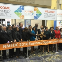 In conjunction with Minority Enterprise Development (MED) Week, U.S. Secretary of Commerce Penny Pritzker participates in a ribbon-cutting ceremony at the National Minority Supplier Development Council (NMSCD) Conference.