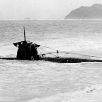 The Japanese mini submarine HA-19 (similar to the mini sub sunk by the USS Ward), which washed ashore on December 8, 1941.