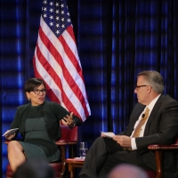 U.S. Secretary Commerce Penny Pritzker and Motorola Solutions CEO Greg Brown at an armchair discussion in Chicago.