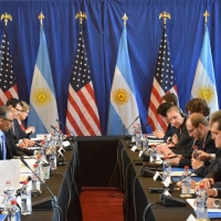 U.S. Secretary of Commerce Penny Pritzker meets with her Argentine counterpart Minister of Production Francisco Cabrera for the inaugural U.S.-Argentina Commercial Dialogue in Washington, D.C.