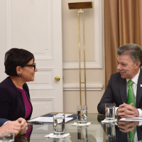 Commerce Secretary Penny Pritzker Meets with President Juan Manuel Santos as Part of Her First Official Visit to Colombia.