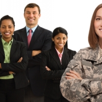 Photo of Woman Veteran with Business People: Courtesy of U.S. Department of Veterans Affairs