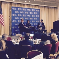 U.S. Secretary of Commerce Penny Pritzker participats in an armchair discussion at the World Affairs Council of America annual conference